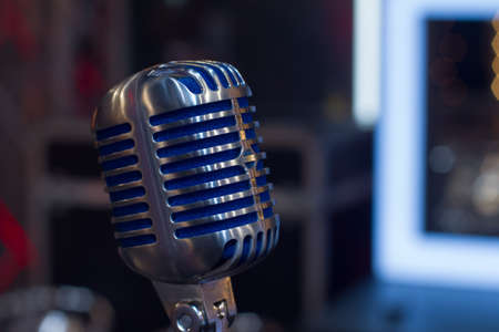 steel blue: closeup old cool vintage steel blue microphone Stock Photo