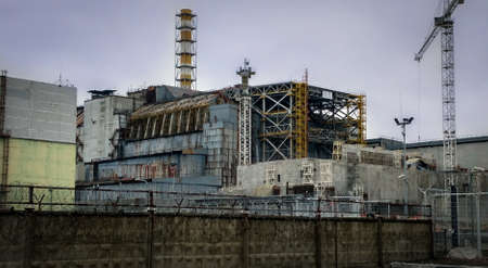 reactor: ruined 4 reactor of Chernobyl nuclear power plantin in 2016