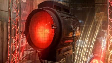 luminaire: old big vintage cinema and movie red luminaire