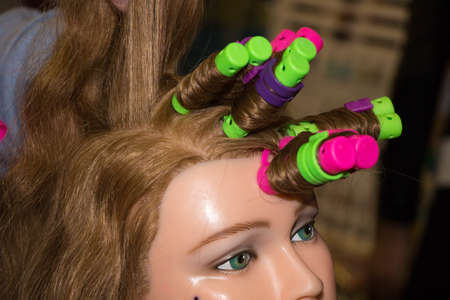 mannequin head: color soft curlers on a woman mannequin head
