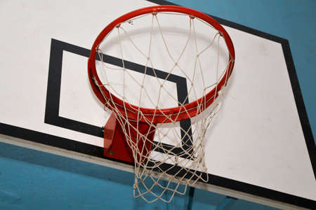 weave ball: red basket with the basketball net on a white board