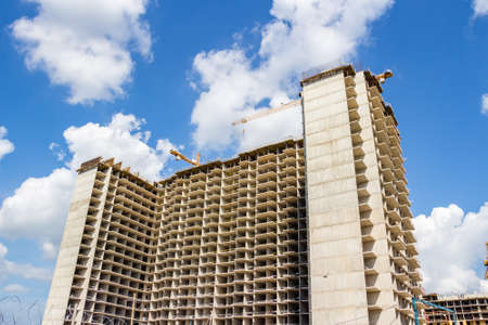 St Petersburg, Russia — July 28, 2016: Construction of an apartment building on the sky background