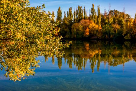 Beautiful autumn evening on the river. Sunny amber landscape with colorful forest. Indian summer. Yellow trees in the rays of the departing sun. The atmosphere of a warm quiet day. Don river in Russia