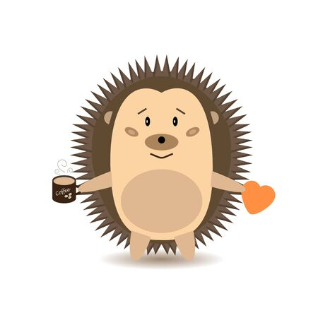 Cute cartoon Hedgehog with a Cup of coffee and a heart. Vector illustration isolated on a white background. The concept of good morning, friendship and love.