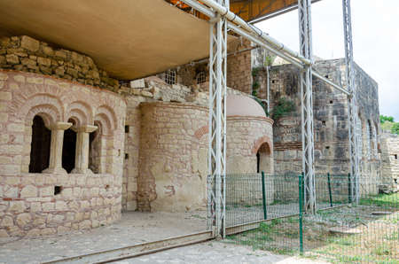 Reconstruction and restoration of facade of the Ancient Byzantine Church of St. Nicholas, original Santa Claus. Old Greek antique temple of Saint Nicholas in Demre, Antalya province, southern Turkey