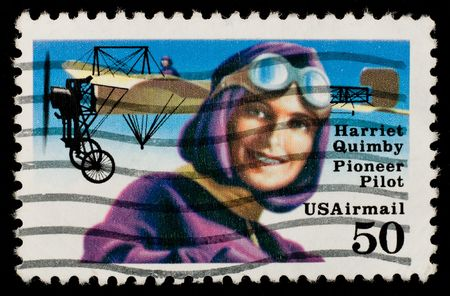 the emancipation: US Airmail stamp commemorating female pioneer pilot Harriet Quimby