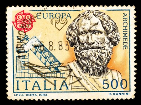 Postage stamp printed in Italia shows image of Archimedes,  circa 1983 Editorial