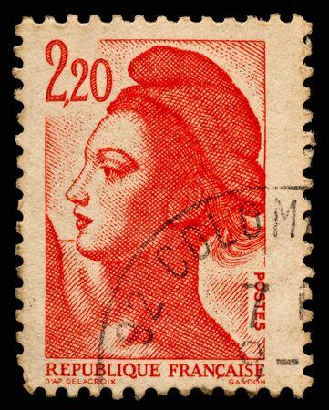 postmark: Vintage French Briefmarke Lizenzfreie Bilder