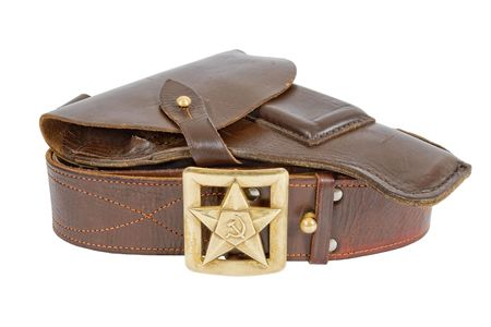 Old belt and holster on white background  photo
