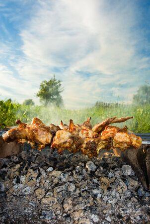 Shish kebab on the improvised oven made of brick photo