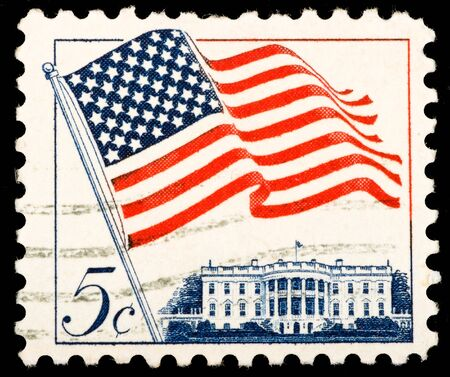 Vintage US postage stamp shows image of the US flag and The White House