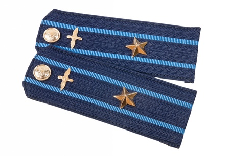 major force: Shoulder strap of russian army on white background