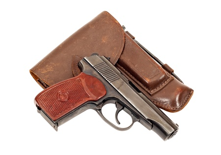 holster: Russian handgun and holster on white background