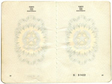 Old Italian passport. Pages for visa marks