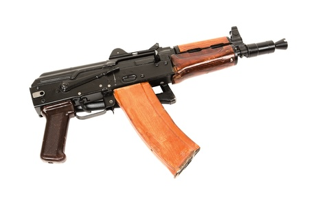 ak 47: Russian automatic rifle AKS-74U isolated on the white background   Stock Photo