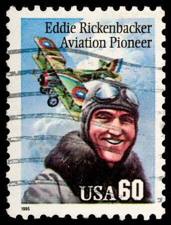 US Airmail stamp commemorating pioneer pilot Addie Rickenbacker
