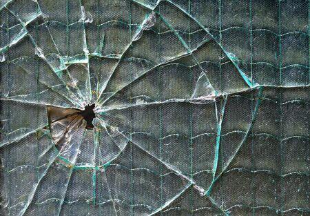 deformation: Glass hole broken shot
