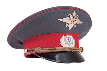 object oppression: Russian Police cap isolated on white background