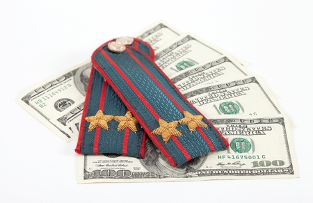 Shoulder strap of russian police and money photo