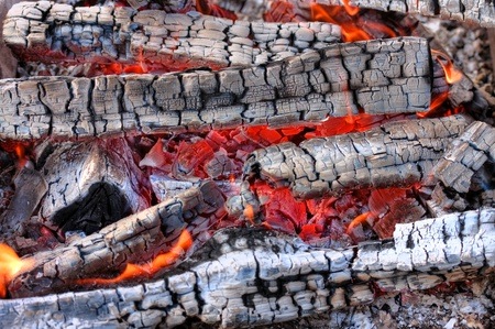 Closeup of a warm fire burning in a fireplace photo