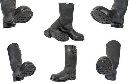 army boots: Black army boots on white background