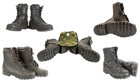 army boots: Black army boots Stock Photo