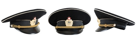 Russian navy service (peak) cap on white background