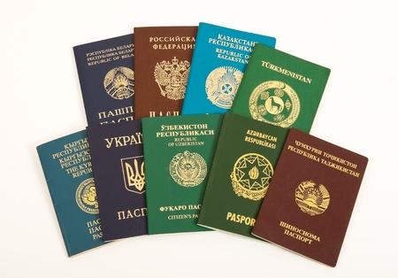 Passports on white background photo