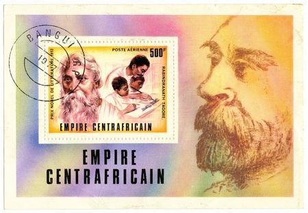 tagore: CENTRAL AFRICAN EMPIRE- CIRCA 1977: A postage stamp printed in the Central African Empire commemorative Rabindranath Tagore, circa 1977