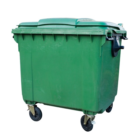 Green recycling container isolated on white background photo