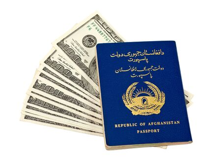 Afghanistan passport and money isolated on white background photo