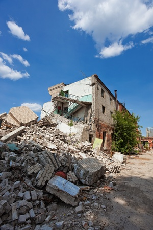 demolished: Destroyed building, can be used as demolition, earthquake, bomb, terrorist attack or natural disaster. Editorial