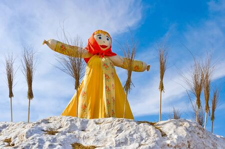 End of the winter. Shrovetide. Big doll for the burning. Stock Photo