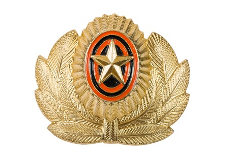 Insignia on russian officer cap photo