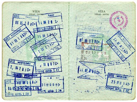 Old Czech passport, page for visa marks photo