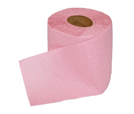 Roll of toilet paper on  white background photo