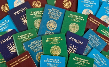 Passports as the background Stock Photo