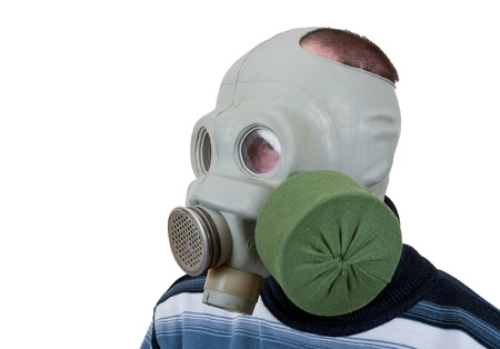 Man in gas mask isolated on white background photo