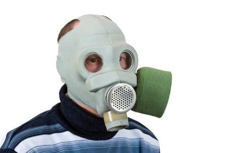 Man in gas mask isolated on white background Stock Photo - 13108382