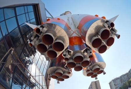 Space rocket on blue sky background Stock Photo