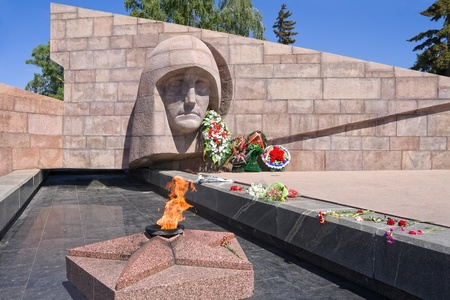 The eternal fire in the memorial complex of city Samara, Russia Editorial