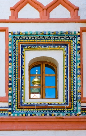Decorated window in Valday monastery, Russia photo