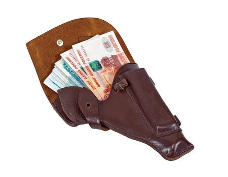 holster: Money in the brown leather holster