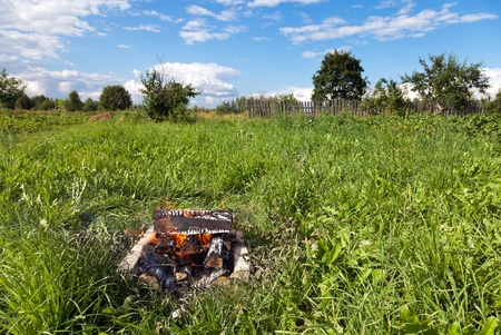 blazes: Fireplace on the outdoors Stock Photo