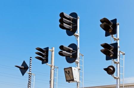 Railway Traffic Lights against blue sky background Stock Photo - 13813036