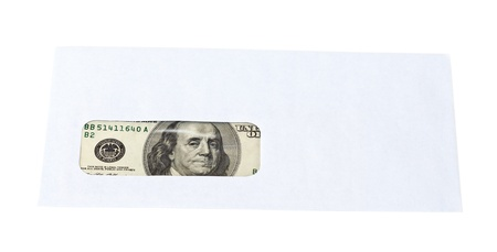 US dollars in the envelope isolated on white background  photo