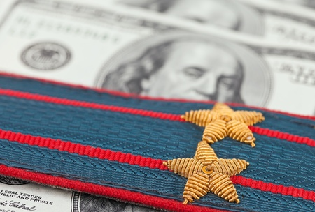 Shoulder strap of russian police on money background Stock Photo - 14258947