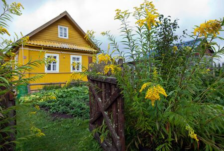 wicket gate: Rural scene with yellow flowers and wooden house