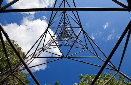 Geodetic point against blue sky. View from inside. Stock Photo