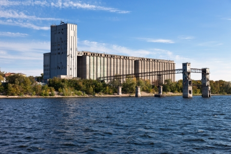 Vintage grain elevator on the Volga River in Samara, Russia photo